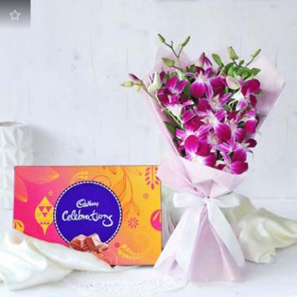 Orchids Bouquet with Cadbury Celebrations